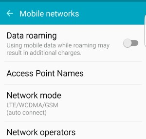 Access Point Names menu on the Galaxy S8
