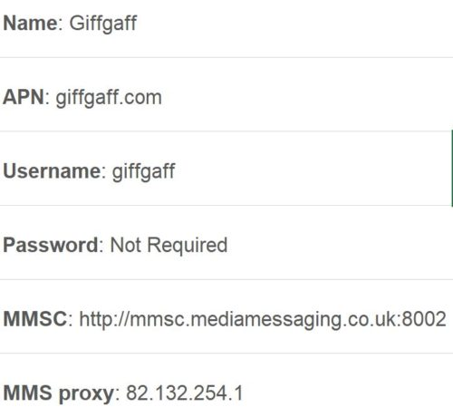 GiffGaff APN – Fix Data, Internet and MMS issues